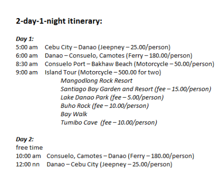Camotes Island Tour Itinerary